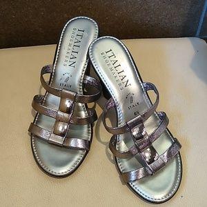 Italian Shoemakers Shiny Pewter Sandals, Size 6.5